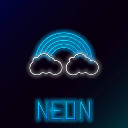 Blue glowing neon line Rainbow with clouds icon isolated on black background. Colorful outline concept. Vector Illustration Ilustracja