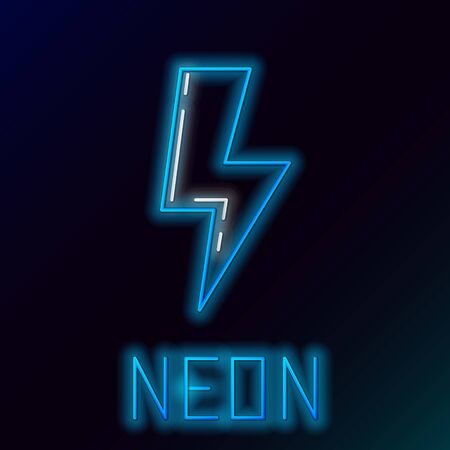 Blue glowing neon line Lightning bolt icon isolated on black background. Flash sign. Charge flash icon. Thunder bolt. Lighting strike. Colorful outline concept. Vector Illustration Illusztráció