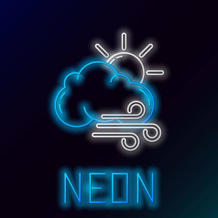 Blue glowing neon line Windy weather icon isolated on black background. Sun with cloud and wind. Colorful outline concept. Vector Illustration Çizim
