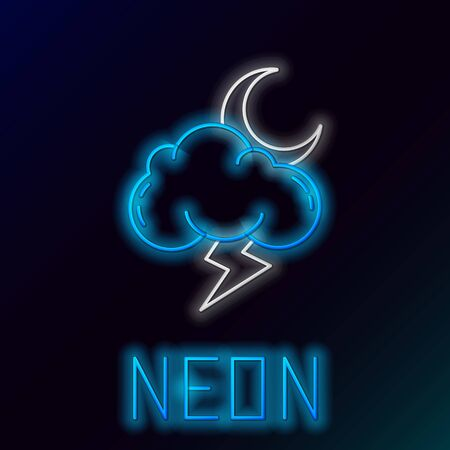 Blue glowing neon line Storm icon isolated on black background. Cloud with lightning and moon sign. Weather icon of storm. Colorful outline concept. Vector Illustration