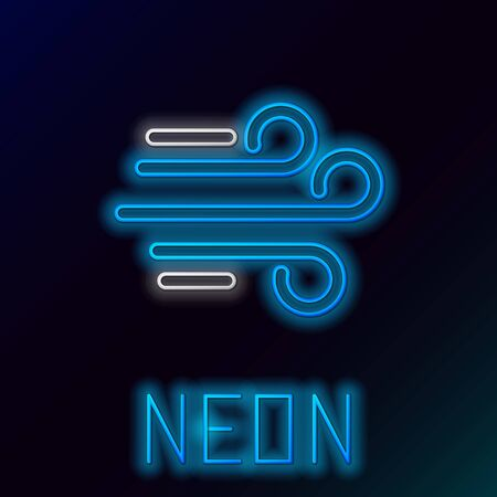 Blue glowing neon line Wind icon isolated on black background. Windy weather. Colorful outline concept. Vector Illustration
