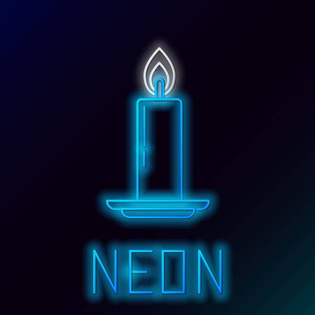 Blue glowing neon line Burning candle in candlestick icon on black background. Old fashioned lit candle. Cylindrical candle stick with burning flame. Colorful outline concept. Vector Illustration