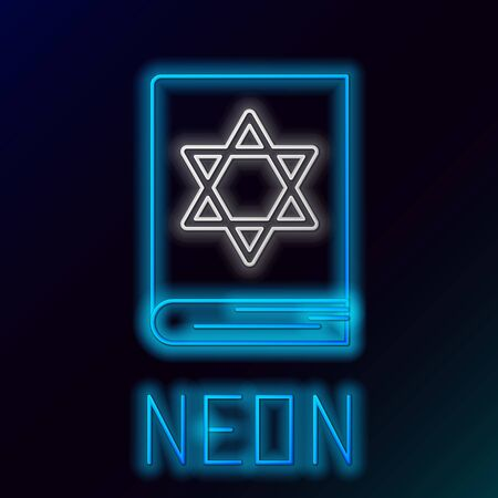 Blue glowing neon line Jewish torah book icon on black background. Pentateuch of Moses. On the cover of the Bible is the image of the Star of David. Colorful outline concept. Vector Illustration