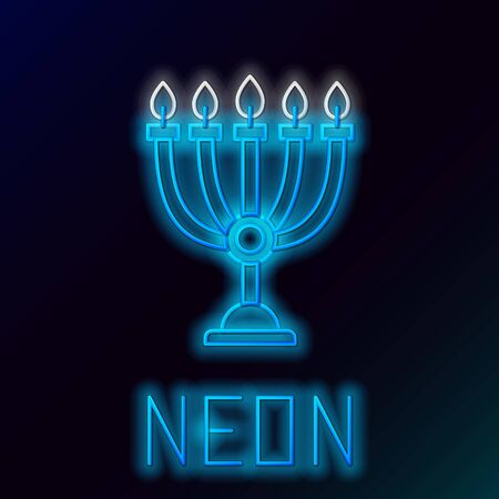 Blue glowing neon line Hanukkah menorah icon isolated on black background. Hanukkah traditional symbol. Holiday religion, jewish festival of Lights. Colorful outline concept. Vector Illustration Ilustrace