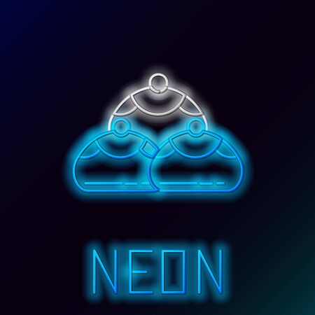 Blue glowing neon line Jewish sweet bakery icon isolated on black background. Hanukkah sufganiyot. Jewish easter cake. Colorful outline concept. Vector Illustration