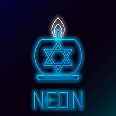 Blue glowing neon line Burning candle in candlestick with star of david icon isolated on black background. Cylindrical candle stick with burning flame. Colorful outline concept. Vector Illustration
