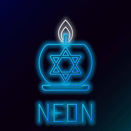 Ligne néon rougeoyante bleue Bougie allumée en chandelier avec icône étoile de david isolée sur fond noir. Bougeoir cylindrique avec flamme brûlante. Concept de contour coloré. Illustration vectorielle Vecteurs
