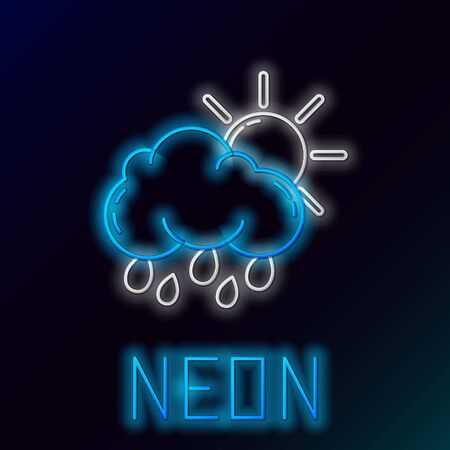 Blue glowing neon line Cloud with rain and sun icon isolated on black background. Rain cloud precipitation with rain drops. Colorful outline concept. Vector Illustration Иллюстрация