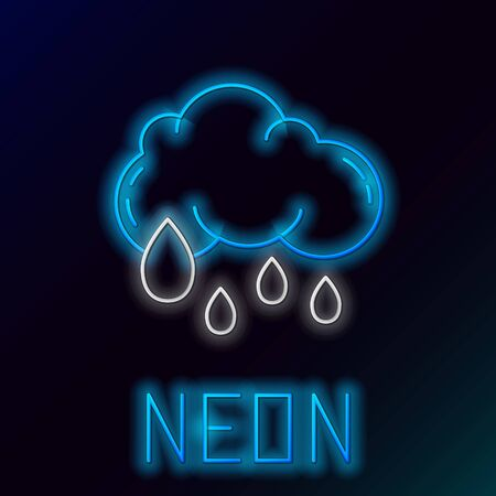 Blue glowing neon line Cloud with rain icon isolated on black background. Rain cloud precipitation with rain drops. Colorful outline concept. Vector Illustration