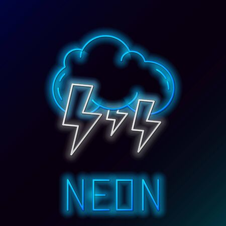 Blue glowing neon line Storm icon isolated on black background. Cloud and lightning sign. Weather icon of storm. Colorful outline concept. Vector Illustration Illusztráció