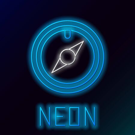 Blue glowing neon line Wind rose icon isolated on black background. Compass icon for travel. Navigation design. Colorful outline concept. Vector Illustration Stok Fotoğraf - 133445391