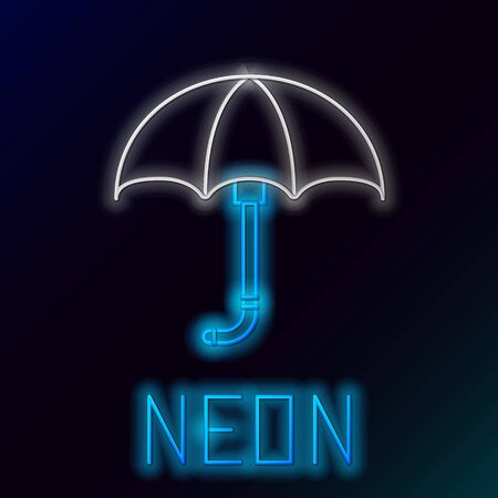 Blue glowing neon line Classic elegant opened umbrella icon isolated on black background. Rain protection symbol. Colorful outline concept. Vector Illustration