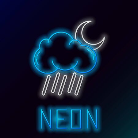 Blue glowing neon line Cloud with rain and moon icon isolated on black background. Rain cloud precipitation with rain drops. Colorful outline concept. Vector Illustration