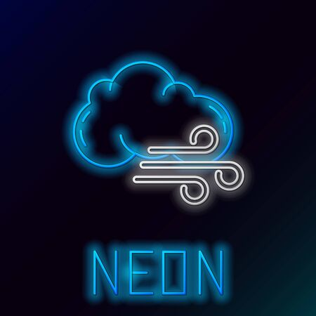 Blue glowing neon line Windy weather icon isolated on black background. Cloud and wind. Colorful outline concept. Vector Illustration Çizim