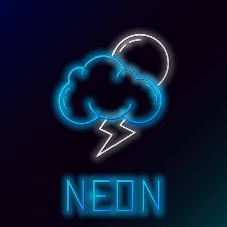 Blue glowing neon line Storm icon isolated on black background. Cloud with lightning and sun sign. Weather icon of storm. Colorful outline concept. Vector Illustration Illusztráció