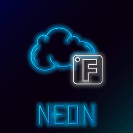 Blue glowing neon line Fahrenheit and cloud icon isolated on black background. Colorful outline concept. Vector Illustration