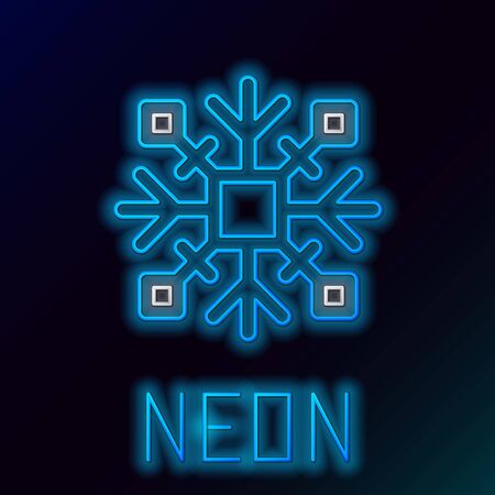 Blue glowing neon lineSnowflake icon isolated on black background. Colorful outline concept. Vector Illustration