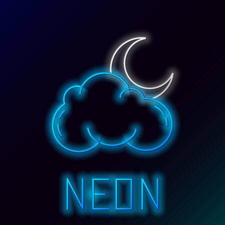 Blue glowing neon line Cloud with moon and stars icon isolated on black background. Cloudy night sign. Sleep dreams symbol. Night or bed time sign. Colorful outline concept. Vector Illustration Çizim