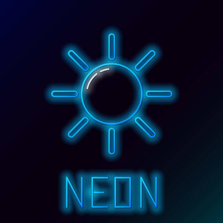 Blue glowing neon line Sun icon isolated on black background. Colorful outline concept. Vector Illustration