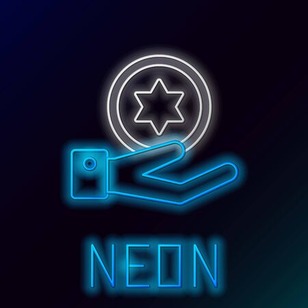 Blue glowing neon line Jewish coin on hand icon isolated on black background. Currency symbol. Colorful outline concept. Vector Illustration Çizim