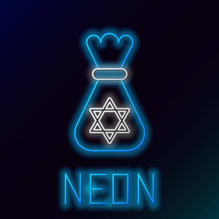 Blue glowing neon line Jewish money bag with star of david icon isolated on black background. Currency symbol. Colorful outline concept. Vector Illustration