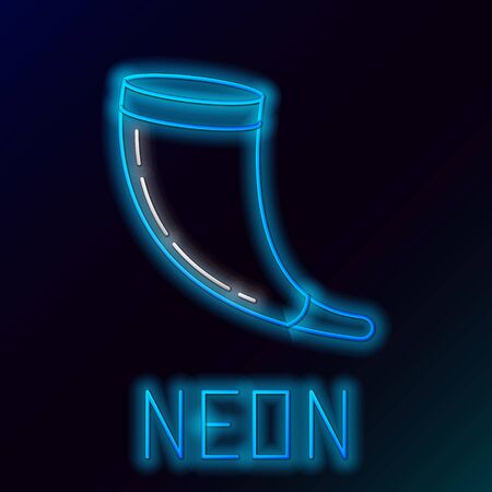 Blue glowing neon line Traditional ram horn, shofar icon isolated on black background. Rosh hashanah, jewish New Year holiday traditional symbol. Colorful outline concept. Vector Illustration