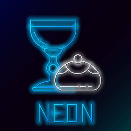 Blue glowing neon line Jewish goblet and hanukkah sufganiyot icon isolated on black background. Jewish sweet bakery. Wine cup for kiddush. Colorful outline concept. Vector Illustration 向量圖像