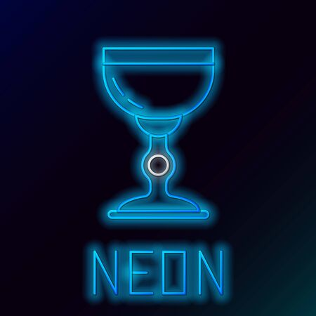 Blue glowing neon line Jewish goblet icon isolated on black background. Jewish wine cup for kiddush. Kiddush cup for Shabbat. Colorful outline concept. Vector Illustration