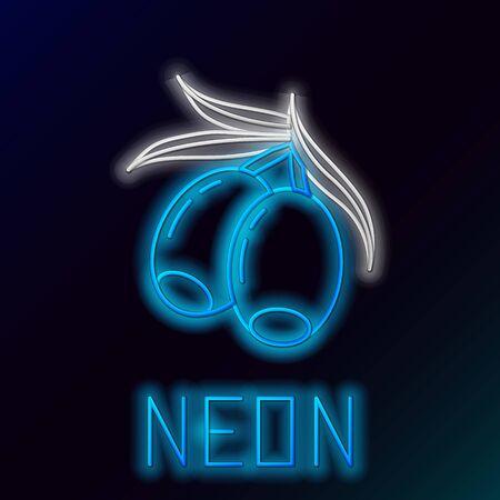 Blue glowing neon line Olives branch icon isolated on black background. Colorful outline concept. Vector Illustration Ilustração