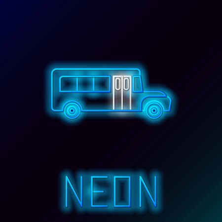 Blue glowing neon line School Bus icon isolated on black background. Public transportation symbol. Colorful outline concept. Vector Illustration