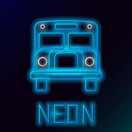 Blue glowing neon line School Bus icon isolated on black background. Public transportation symbol. Colorful outline concept. Vector Illustration Stock Vector - 133472299