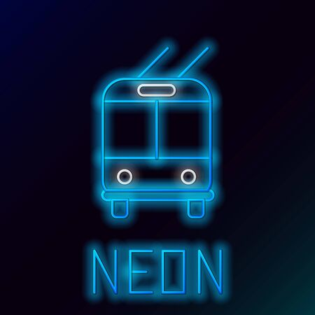 Blue glowing neon line Trolleybus icon isolated on black background. Public transportation symbol. Colorful outline concept. Vector Illustration Çizim