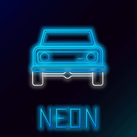 Blue glowing neon line Off road car icon isolated on black background. Colorful outline concept. Vector Illustration