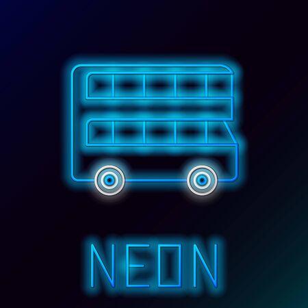 Blue glowing neon line Double decker bus icon isolated on black background. London classic passenger bus. Public transportation symbol. Colorful outline concept. Vector Illustration Çizim