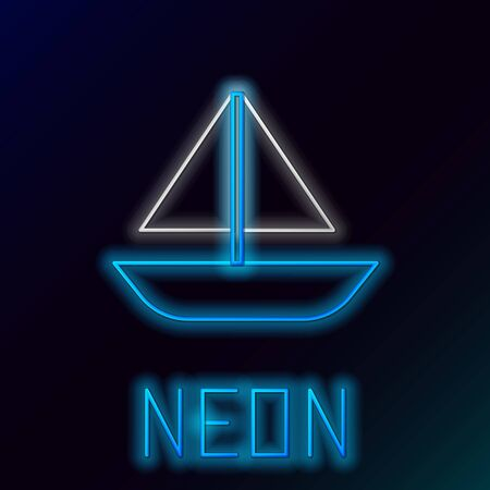 Blue glowing neon line Yacht sailboat or sailing ship icon isolated on black background. Sail boat marine cruise travel. Colorful outline concept. Vector Illustration Çizim