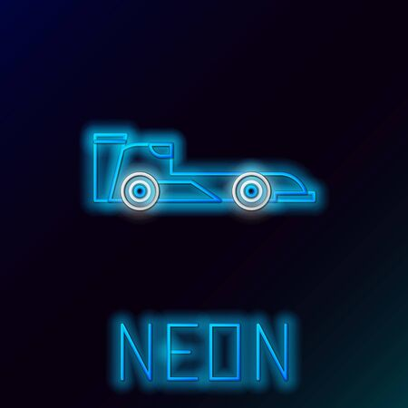 Blue glowing neon line Formula race car icon isolated on black background. Colorful outline concept. Vector Illustration