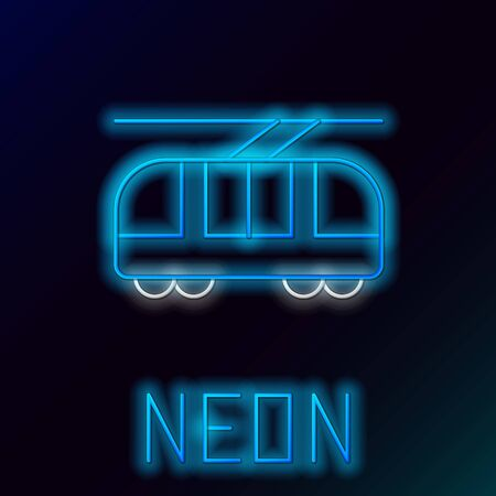 Blue glowing neon line Tram and railway icon isolated on black background. Public transportation symbol. Colorful outline concept. Vector Illustration Çizim