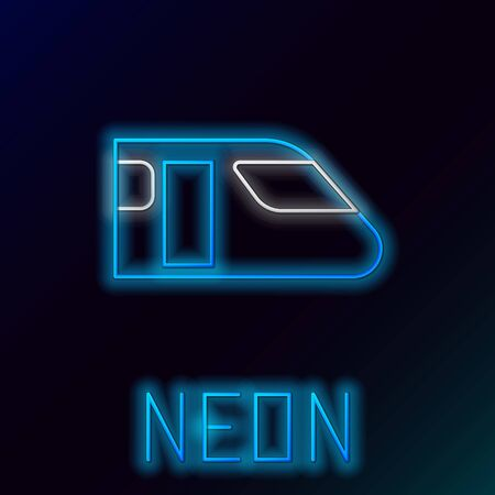 Blue glowing neon line Train icon isolated on black background. Public transportation symbol. Subway train transport. Metro underground. Colorful outline concept. Vector Illustration