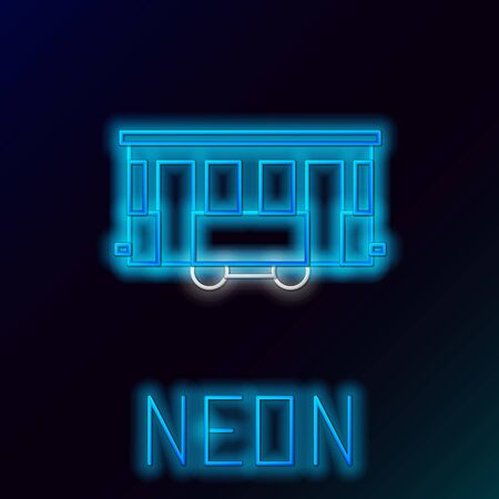 Blue glowing neon line Old city tram icon isolated on black background. Public transportation symbol. Colorful outline concept. Vector Illustration Çizim