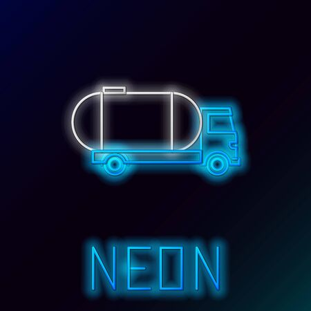 Blue glowing neon line Tanker truck icon isolated on black background. Petroleum tanker, petrol truck, cistern, oil trailer. Colorful outline concept. Vector Illustration