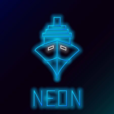 Blue glowing neon line Cargo ship icon isolated on black background. Colorful outline concept. Vector Illustration Ilustracja