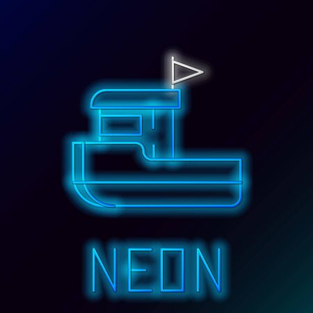 Blue glowing neon line Fishing boat icon isolated on black background. Colorful outline concept. Vector Illustration