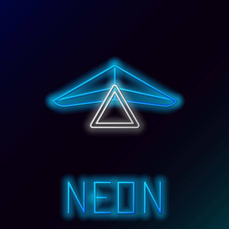 Blue glowing neon line Hang glider icon isolated on black background. Extreme sport. Colorful outline concept. Vector Illustration Ilustracja