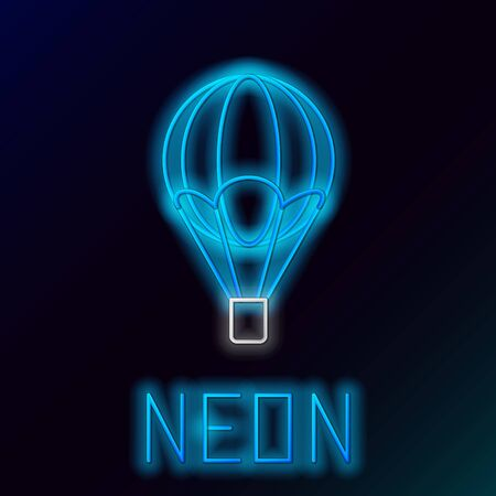 Blue glowing neon line Hot air balloon icon isolated on black background. Air transport for travel. Colorful outline concept. Vector Illustration