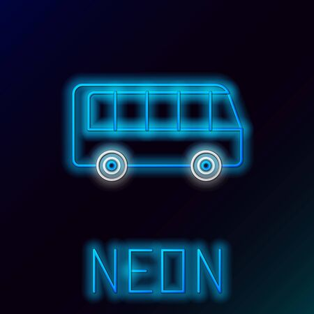Blue glowing neon line Bus icon isolated on black background. Transportation concept. Bus tour transport sign. Tourism or public vehicle symbol. Colorful outline concept. Vector Illustration