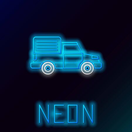 Blue glowing neon line Delivery cargo truck vehicle icon isolated on black background. Colorful outline concept. Vector Illustration Stok Fotoğraf - 133445188
