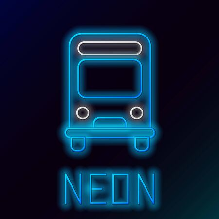 Blue glowing neon line Bus icon isolated on black background. Transportation concept. Bus tour transport sign. Tourism or public vehicle symbol. Colorful outline concept. Vector Illustration Stok Fotoğraf - 133445293