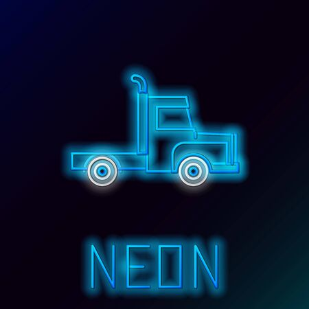 Blue glowing neon line Delivery cargo truck vehicle icon isolated on black background. Colorful outline concept. Vector Illustration Stok Fotoğraf - 133445211