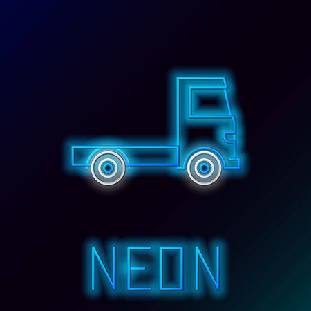 Blue glowing neon line Delivery cargo truck vehicle icon isolated on black background. Colorful outline concept. Vector Illustration Stok Fotoğraf - 133445216