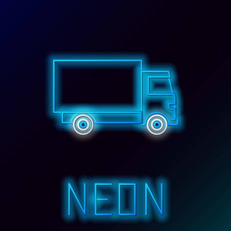 Blue glowing neon line Delivery cargo truck vehicle icon isolated on black background. Colorful outline concept. Vector Illustration